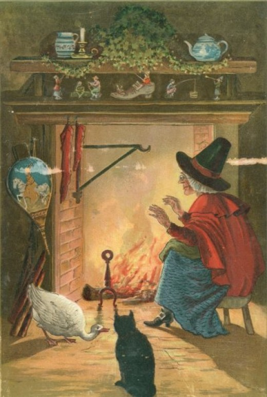 A witch and her friends...notice the little men on the mantle?