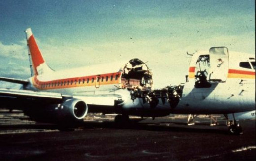 Image of flight 243 after it landed safely in Maui.