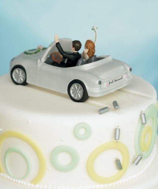 Honeymoon Bound Couple in Car Cake Topper