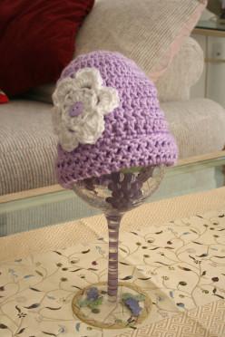 Light Lavendar with white flower baby crochet cap
