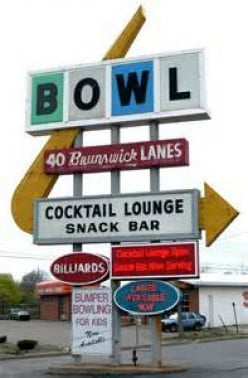 Vintage bowling alley sign