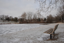 In this original photograph, I wanted the frozen lake to command a large portion of the frame, but to add interest I let the tree line break up the upper third of the image and walked around until I placed the empty bench in the bottom right third.