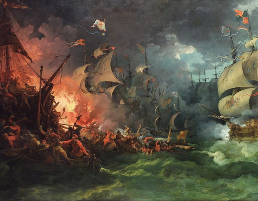 Painting: Spanish Armada by Philip James de Loutherbourg 1796