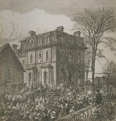 "Funeral of George Brown: a gathering at his residence at the corner of Beverley and Baldwin Streets in Toronto, Canada. ""L'opinion publique, Vol. 11, no. 22, pp. 255 (27 mai 1880) (Item No. 3867)"