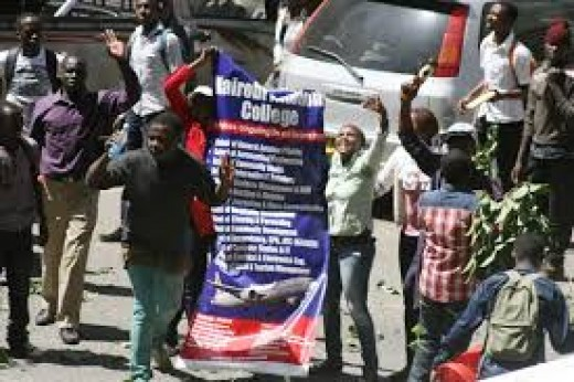 Students from Nairobi Aviation College demonstrate in the streets of Nairobi for the airing of a news story about controversial degree honours tied to their institution