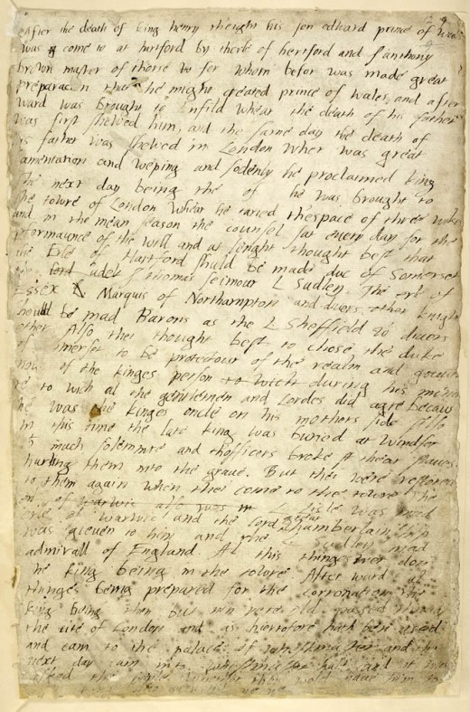 A page of Edward VI's childhood diary.