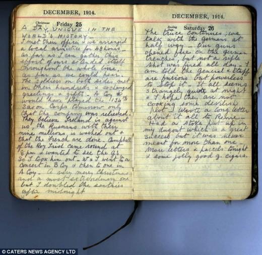 Captain Robert Hamilton's 1914 diary, describing his experiences during World War.