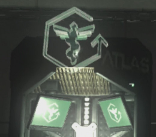 Exo medic has a medical symbol in the center of a broken outline, with an arrow pointing up.