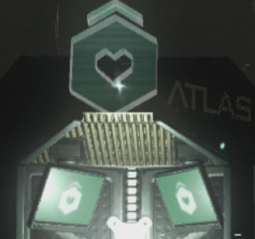 The Exo Health icon is an Octagon with a heart shaped hole in the center and an arrow above it pointing up.