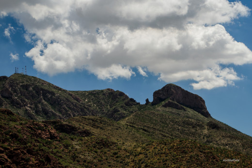 "The ""Elephant"" or Mastodon climbing Mount Franklin as seen from Transmountain Highway."