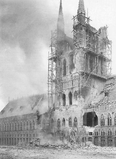 Cloth Hall on fire, November 21, 1914