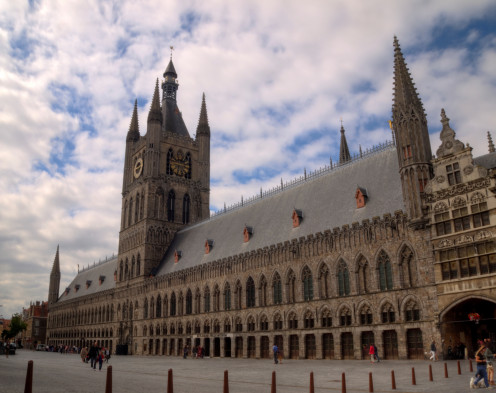 Cloth Hall and Belfry in Ypres. Rebuilt after World War I
