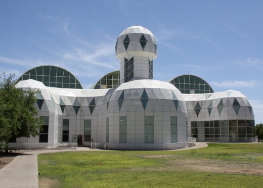 These domes house the Biospherians.