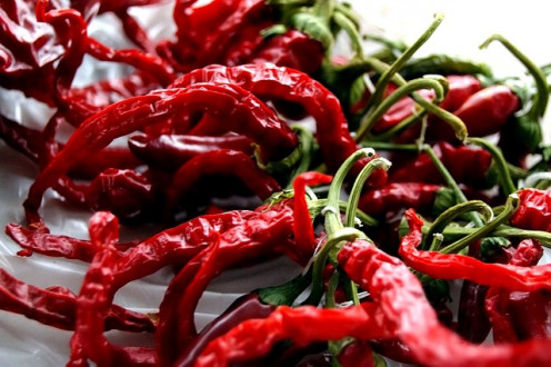 Dried chillies, remember to remove the seeds, otherwise you will be on FIRE!