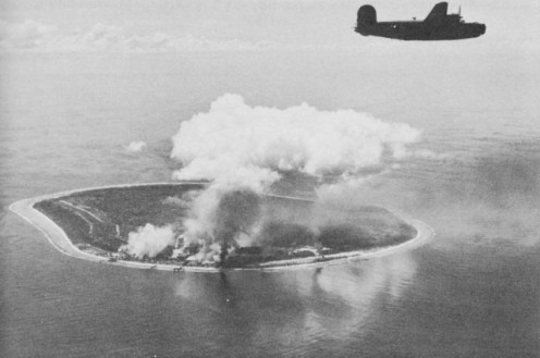 Nauru Island under attack by Liberator bombers of the Seventh Air Force.