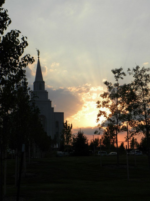 Sunset provides back lighting to Kansas City LDS Temple, MO