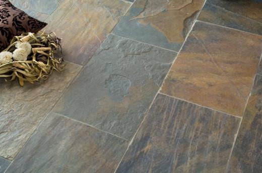 An installed slate floor.
