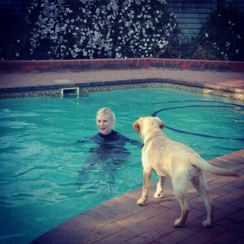 Honey wasn't sure that the wetsuit try out in the pool was going well