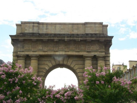 Practically sitting in order to get the low flowers in front of this arch in Bordeaux, France.
