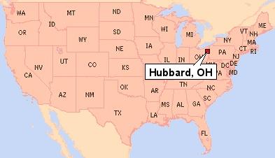 Hubbard, Ohio shown on a U.S.A. map