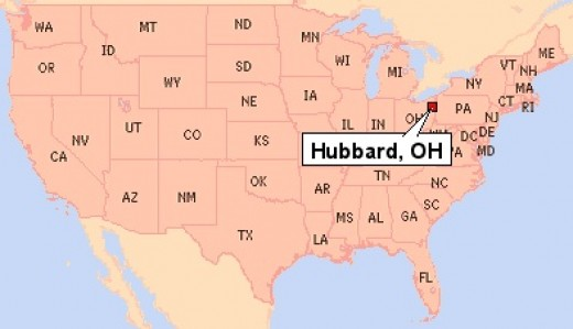 Hubbard, Ohio shown on a U.S.A. map