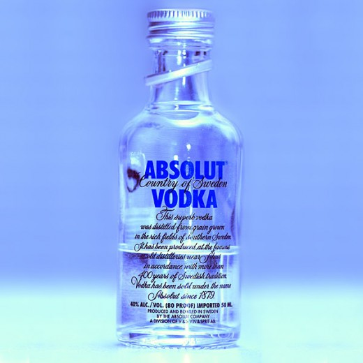 A bottle of Absolut Vodka.  While this is one of the preferred brands for drinking, it would probably be best to use a cheaper brand for purposes other than consumption.