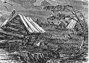 Woodcut of damage from New Madrid Earthquakes 1811 - 1812