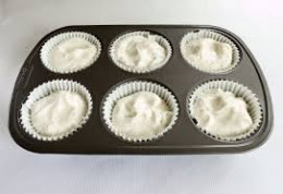Add a fairly amount of dough on each cupcake cup
