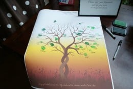 Thumbprint guest art creates a lasting impression that can adorn the wall of a newlywed couple's home.