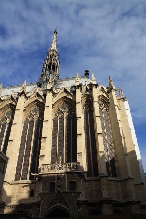 The exterior of Sainte Chapelle in Paris, France.
