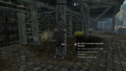 In Skyrim the option to use your Speech skill shows up naturally in the middle of conversations, rather than utilizing a separate screen/window.