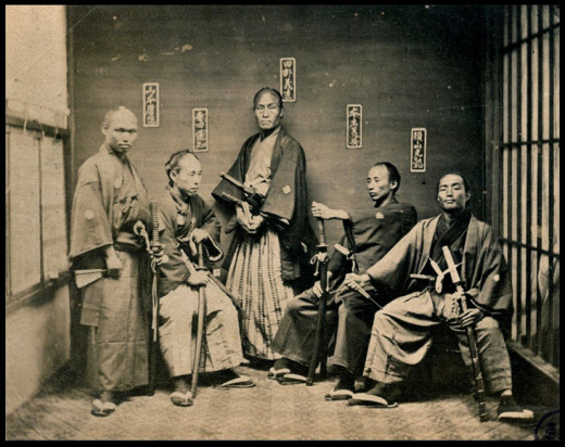 Samurai carrying katana, circa 1860