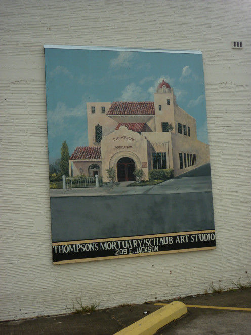 Mural of Thompson's Mortuary/Schaub Art Studio, Harlingen, Texas