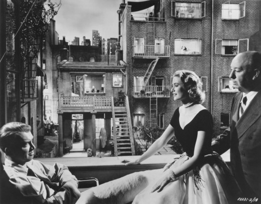 """Paranoia or reality? A result of a bad leg and too much time on one's hands or not?  A scene from Hitchcock's """"Rear Window""""."""