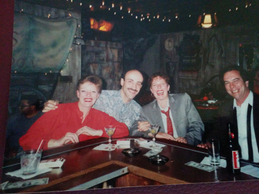 Max and me, meeting new friends over martinis at the Prospector in what looks to have been the 80's.