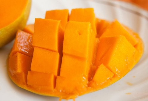 Juicy sliced mango.