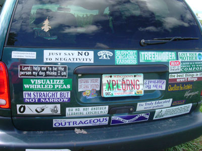 Lots of bumper stickers