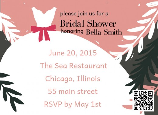 bridal shower invitation with QR code