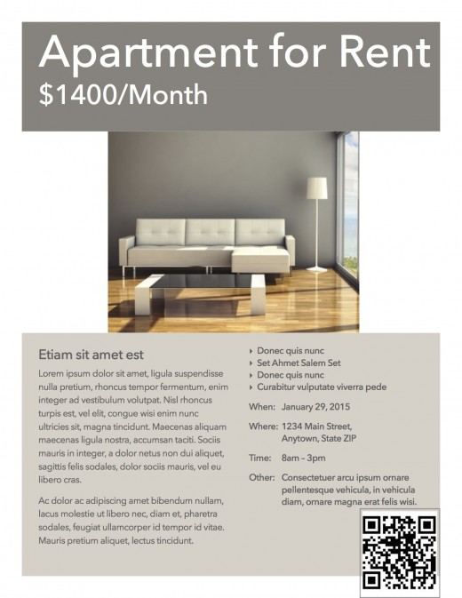 QR code apartment rental flyer