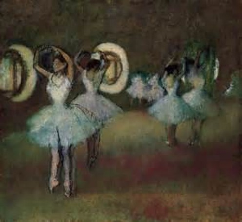 I like this because it shows the dancers rehearsing for some ballet where sometimes they must learn to dance as a mirror image of another dancer.