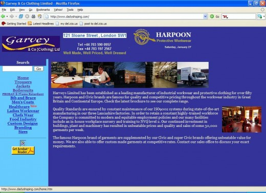 """The spoofed version of the """"Harveys & Co (Clothing) Ltd"""" put up by the scamers."""