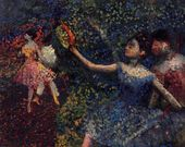 I like this if for no other reasons that he used different colors and techniques. Disagree or not, I think he was utilizing pointillism. Very cool and dark for Degas but still beautiful.