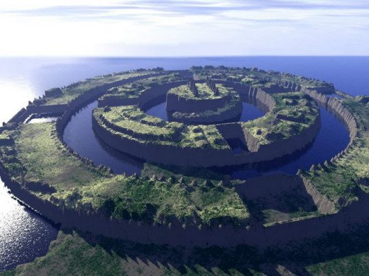 according to many sources the City of Atlantis was built in concentric rings with large canals separating them.