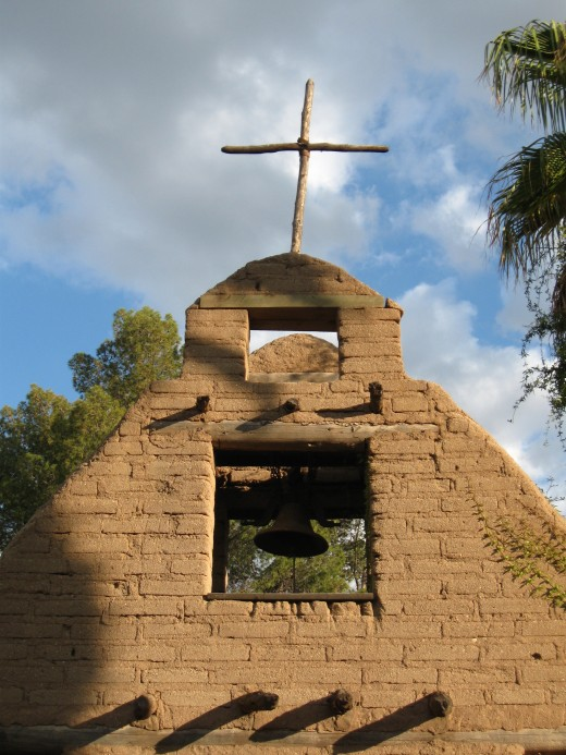 Spanish style mission church in Tucson Arizona's Trail Dust Town