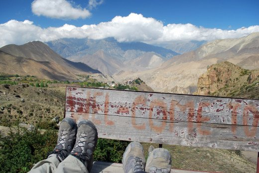 A footrest overlooking the Annapurnas, Nepal