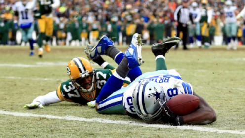 Bad Call?  I think so.  Dez Bryant caught and secured this ball.  Did it bounce in his hands?  Yes.  Did it touch the ground?  No.  He stayed in bound secured the ball on his body.  This call cost Cowboys NFC Championship game and maybe more.
