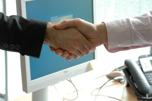 During job interviews you should always introduce yourself with a firm handshake.