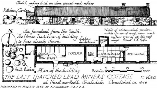 One of the miners' cottages in plan and profile