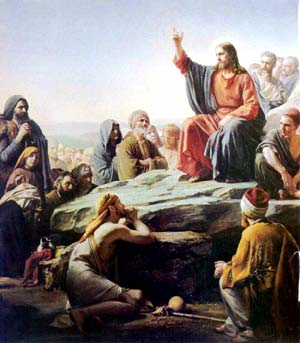"Christ teaching the masses during the famous ""Sermon on the Mount."" Art by Carl Bloch."