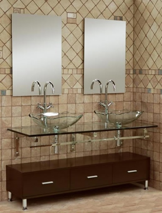 glass vanity with vessel sinks